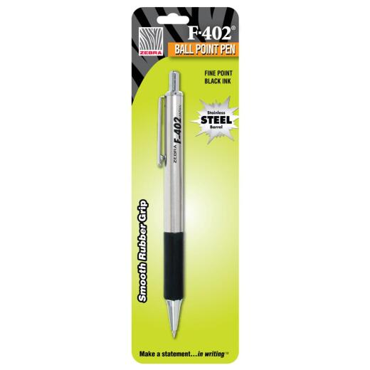 Zebra Fine Point Black Stainless Steel Retractable Pen